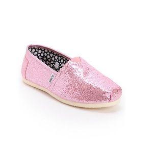 Toms | EUC! Glittery light Pink Slip on Flats Sz 9